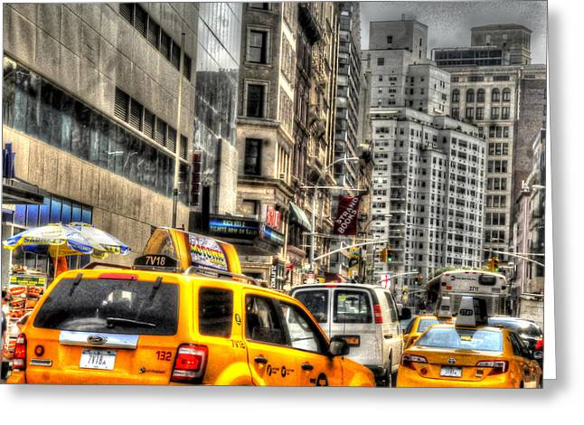 Union Square Greeting Cards - Union Square Cabs Greeting Card by Mike Lindwasser Photography