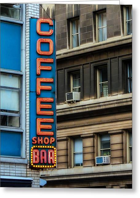 Union Square Greeting Cards - Union Square Coffee Shop Sign Greeting Card by Jon Woodhams