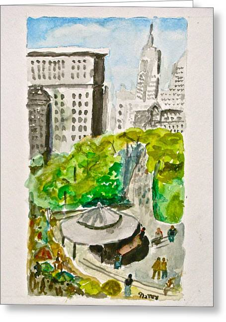 Union Square Mixed Media Greeting Cards - Union Square Greeting Card by Natey Freedman