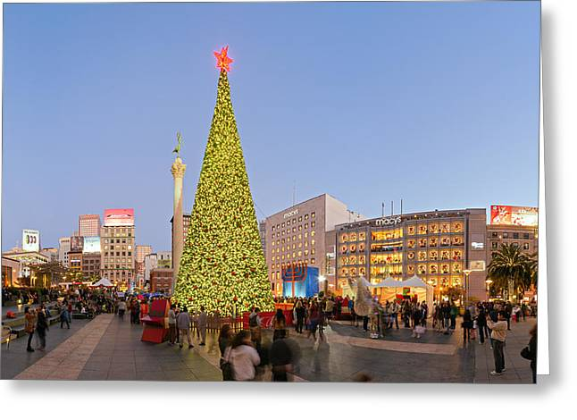 Union Square Photographs Greeting Cards - Union Square San Francisco Greeting Card by David Yu