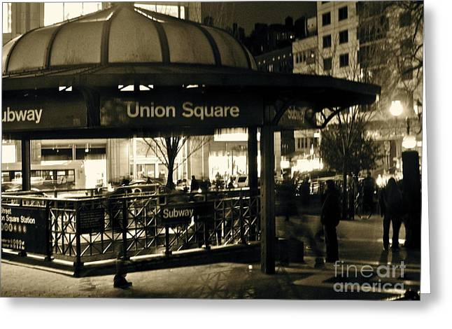 Union Square Greeting Cards - Union Square Station Greeting Card by Maritza Melendez