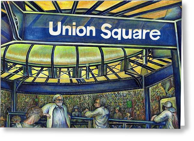 Union Square Paintings Greeting Cards - Union Squares Parlor Greeting Card by Gaye Elise Beda