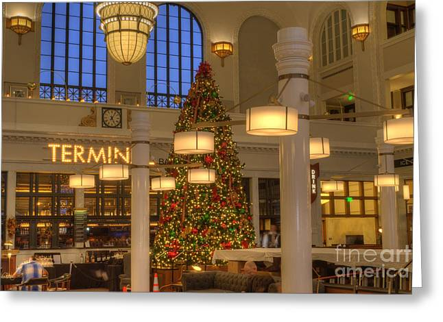 Railway Transportation Greeting Cards - Union Station at Christmas Greeting Card by Juli Scalzi