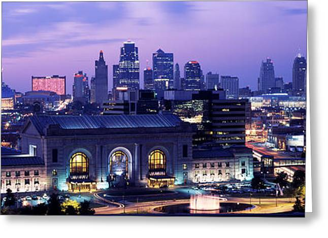 Downtown District Greeting Cards - Union Station At Sunset With City Greeting Card by Panoramic Images