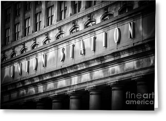 Building Exterior Photographs Greeting Cards - Union Station Chicago Sign in Black and White Greeting Card by Paul Velgos
