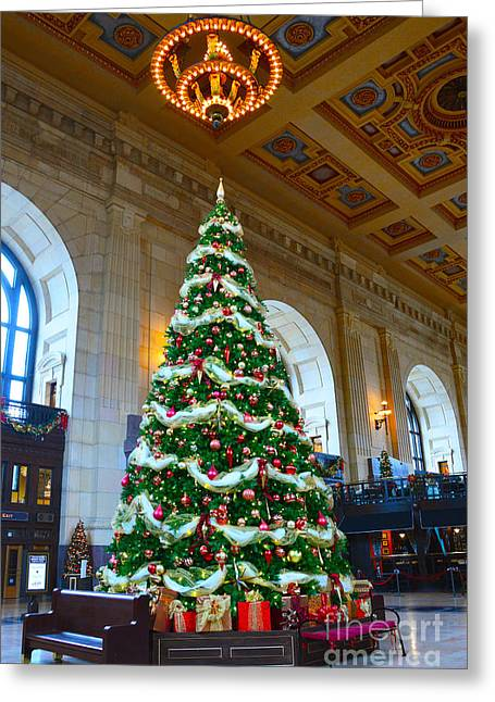 Union Station Decorates For Christmas In Kansas City Greeting Card by Catherine Sherman