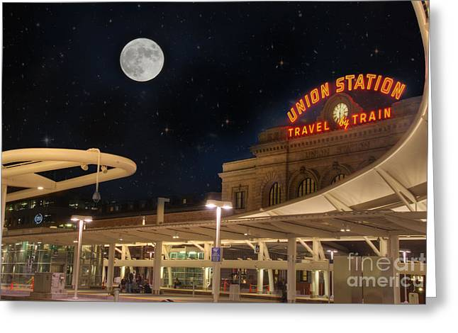 Hubble Space Telescope Views Greeting Cards - Union Station Denver Under a Full Moon Greeting Card by Juli Scalzi