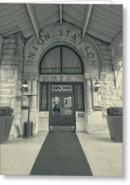 Union Station Lobby Greeting Cards - Union Station Entrance Greeting Card by Dan Sproul