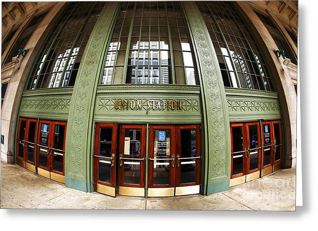 Distortion Greeting Cards - Union Station Exterior Greeting Card by John Rizzuto
