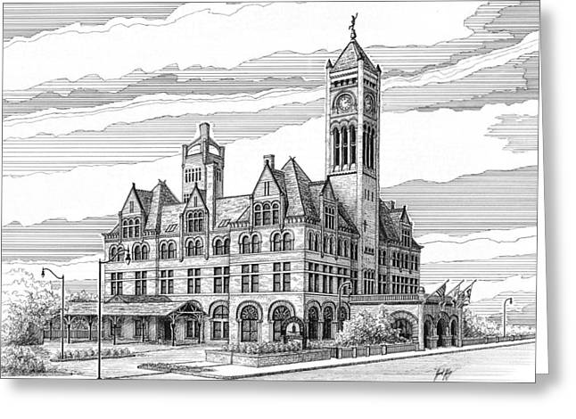 Janet King Drawings Greeting Cards - Union Station in Nashville TN Greeting Card by Janet King