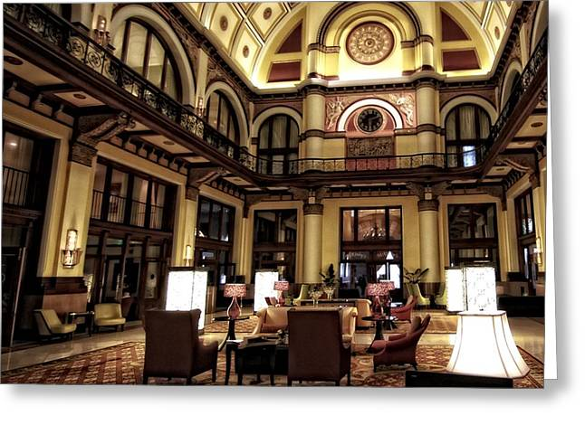 Union Station Lobby Greeting Cards - Union Station Interior Nashville Tennessee Greeting Card by Dan Sproul