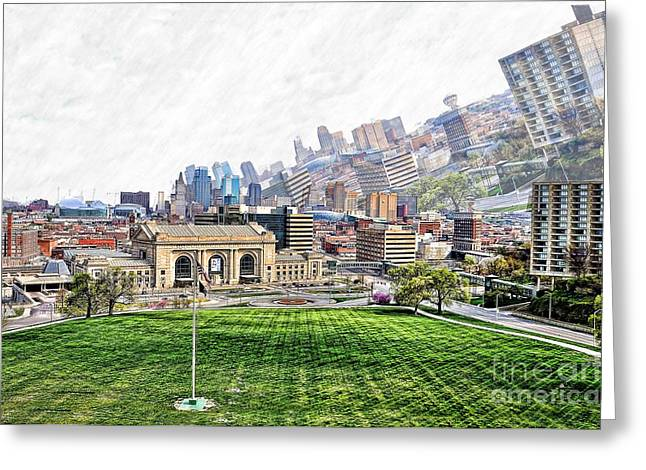 Clever Digital Greeting Cards - Union Station KCMO and City View Greeting Card by Liane Wright
