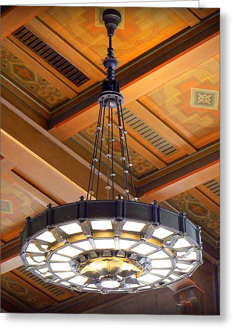 Union Station Lobby Greeting Cards - Union Station Light Fixture Greeting Card by Karyn Robinson