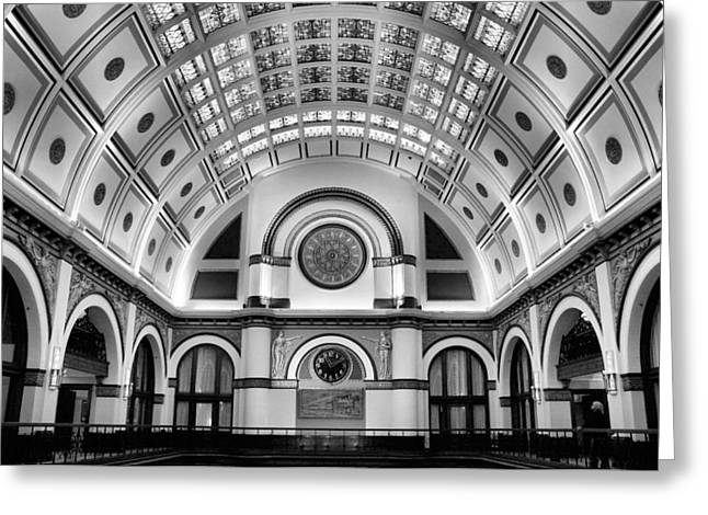 Union Station Lobby Greeting Cards - Union Station Lobby Black and White Greeting Card by Kristin Elmquist