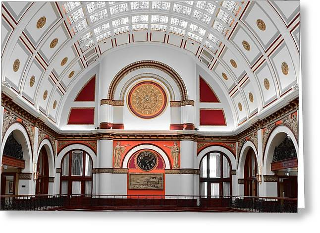 Union Station Lobby Greeting Cards - Union Station Nashville Tennessee Greeting Card by Frozen in Time Fine Art Photography