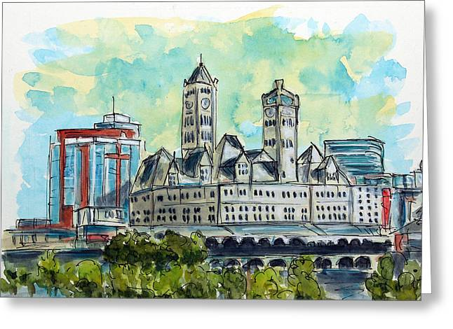 Tim Ross Greeting Cards - Union Station Nashville Greeting Card by Tim Ross