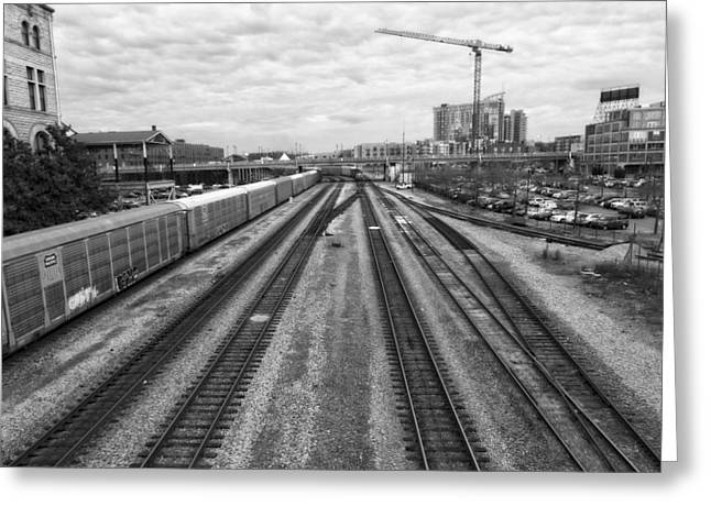 Union Station Lobby Greeting Cards - Union Station Railroad Tracks Greeting Card by Dan Sproul