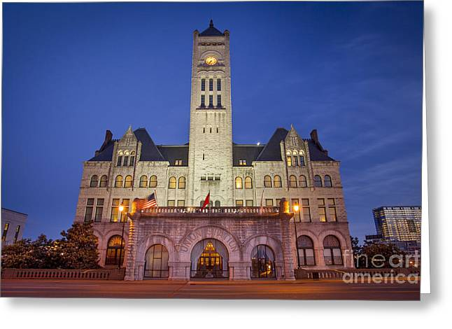 Recently Sold -  - Nashville Tennessee Greeting Cards - Union Station Night Greeting Card by Brian Jannsen