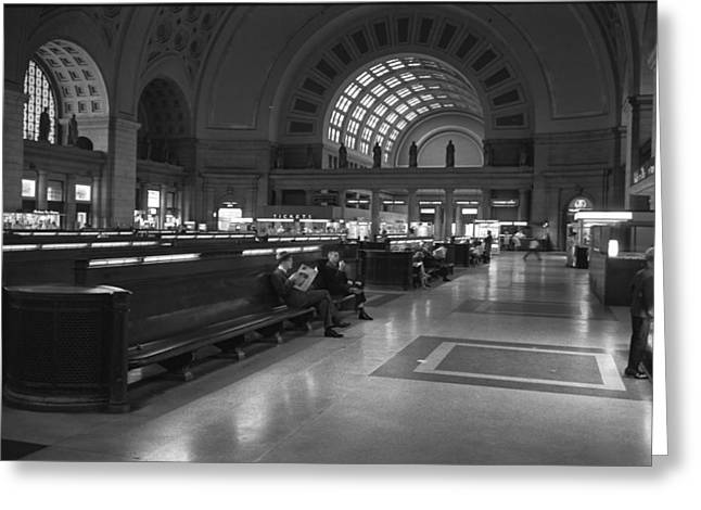 Union Station Lobby Greeting Cards - Union Station Washington D.C. - 1963 Greeting Card by Mountain Dreams