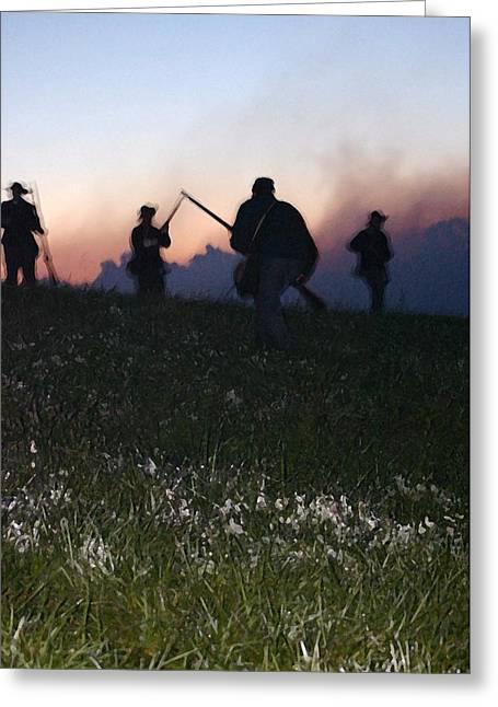 150th Commemoration Greeting Cards - Union Troops Ascending Hill - Perryville KY Greeting Card by Thia Stover