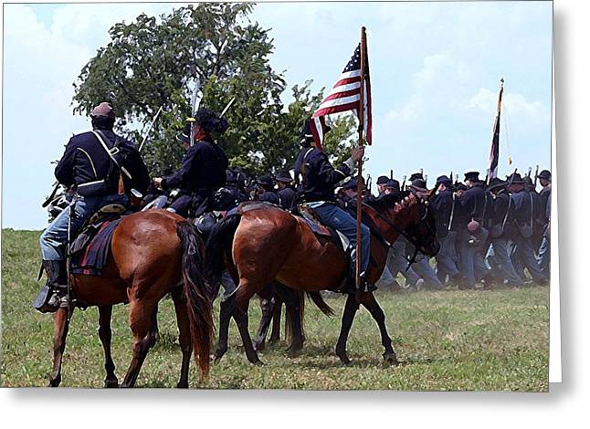 150th Commemoration Greeting Cards - Union Troops Marching to Battle - Richmond KY Greeting Card by Thia Stover