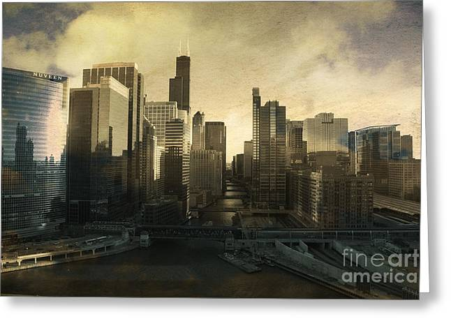 Linda Matlow Greeting Cards - Unique Chicago Skyline Greeting Card by Linda Matlow