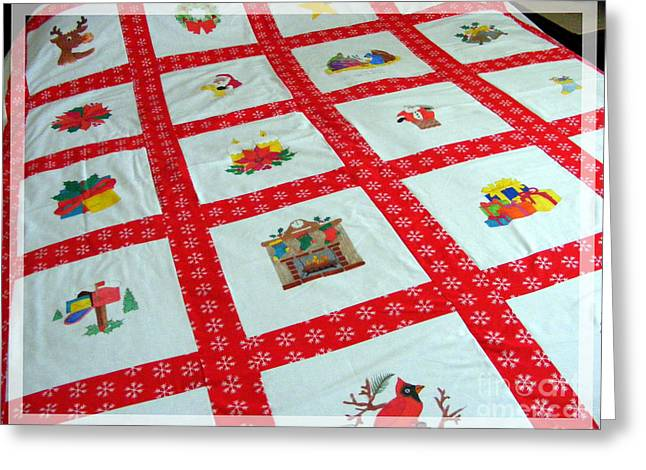Crafty Quilts Greeting Cards - Unique Quilt with Christmas Season Images Greeting Card by Barbara Griffin