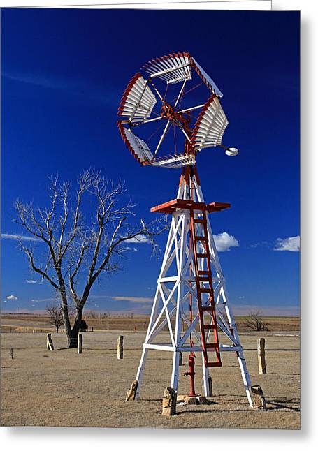 Sante Fe Trail Greeting Cards - Unique Windmill Greeting Card by Christopher McKenzie
