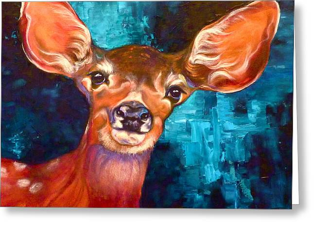 Wildlife Prints Drawings Greeting Cards - Uniquely Fawn Greeting Card by Susan A Becker