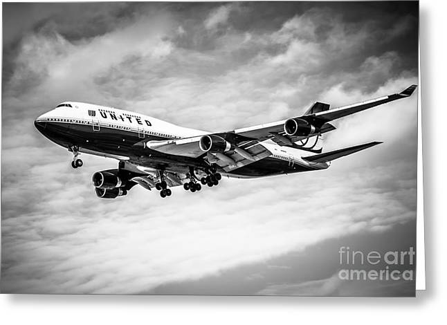 United Airlines 747 Greeting Cards - United Airlines Airplane in Black and White Greeting Card by Paul Velgos