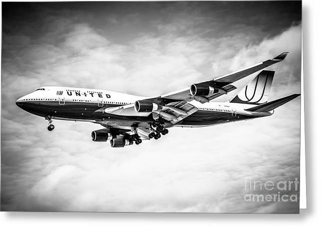 Descend Greeting Cards - United Airlines Boeing 747 Airplane Black and White Greeting Card by Paul Velgos