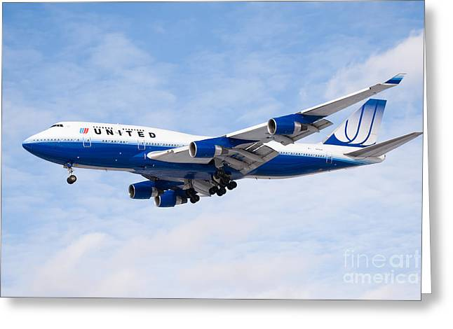 Landing Airplane Greeting Cards - United Airlines Boeing 747 Airplane Landing Greeting Card by Paul Velgos