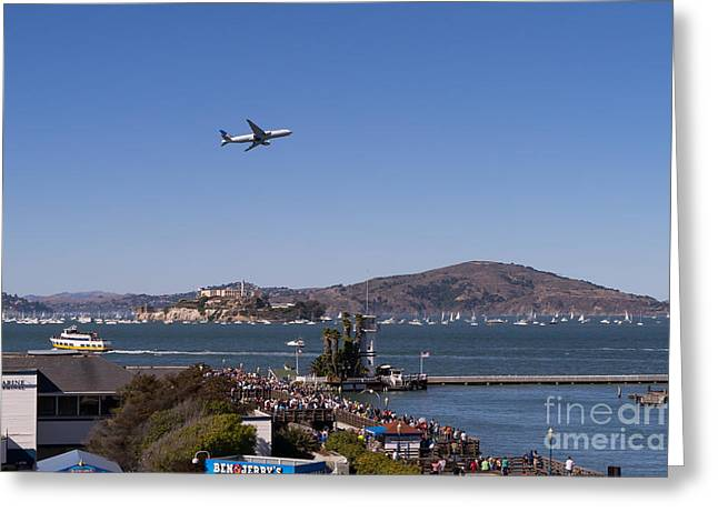 United Airlines Passenger Plane Greeting Cards - United Airlines Jet Over San Francisco Alcatraz Island DSC1765 Greeting Card by Wingsdomain Art and Photography
