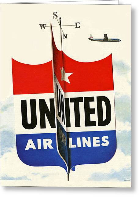 United Airline Greeting Cards - United Airlines Greeting Card by Nomad Art And  Design