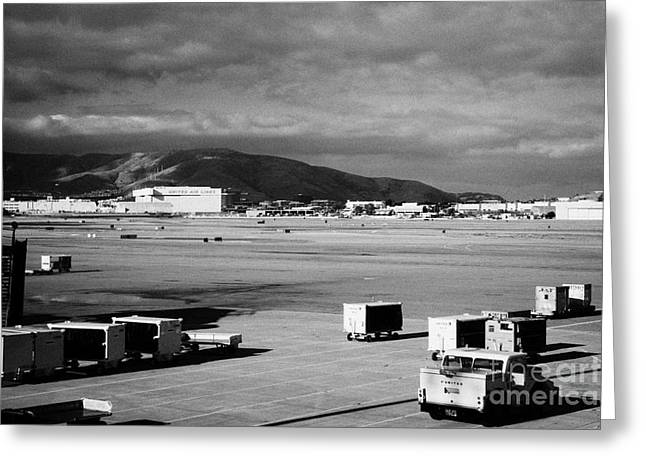 Taxiway Greeting Cards - united airlines section of San Francisco International Airport California USA Greeting Card by Joe Fox