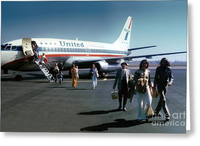 Fixed Wing Multi Engine Greeting Cards - United Airlines UAL Boeing 737-222 N9069U April 1974 Greeting Card by Wernher Krutein
