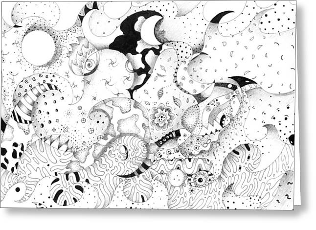 Organic Drawings Greeting Cards - United and Divided Greeting Card by Helena Tiainen