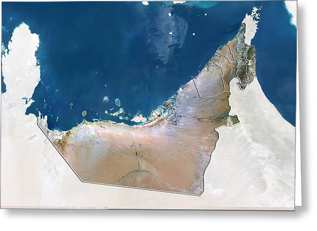 Boundary Waters Greeting Cards - United Arab Emirates, satellite image Greeting Card by Science Photo Library