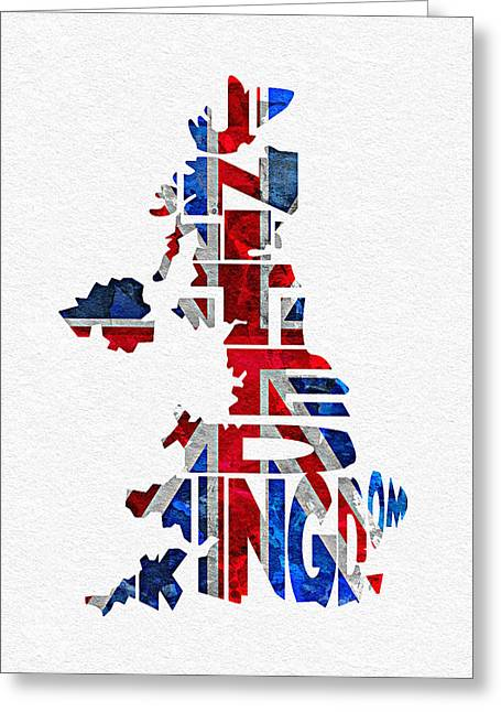 United Kingdom Typographic Kingdom Greeting Card by Ayse Deniz