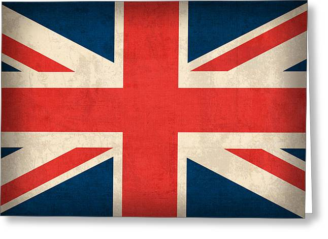 English Greeting Cards - United Kingdom Union Jack England Britain Flag Vintage Distressed Finish Greeting Card by Design Turnpike