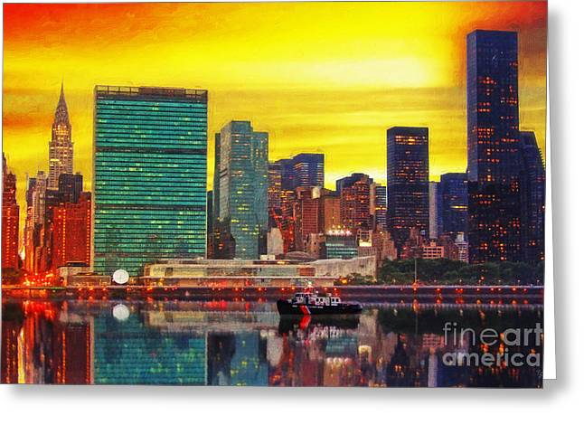 Sunset Framed Prints Digital Art Greeting Cards - United Nations at Sunset Greeting Card by Nishanth Gopinathan