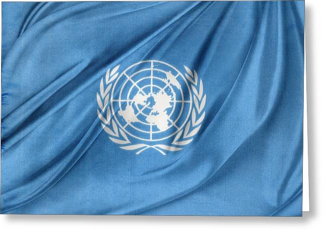 Recently Sold -  - White Cloth Greeting Cards - United Nations Greeting Card by Les Cunliffe