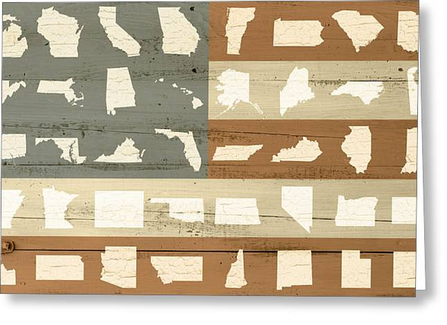 Painted Wood Mixed Media Greeting Cards - United Shapes of America Painted Flag Wood Art Greeting Card by Design Turnpike