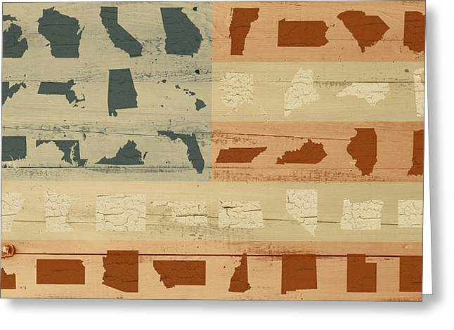 Painted Wood Mixed Media Greeting Cards - United Shapes of America Painted Flag Wood Art Version Two Greeting Card by Design Turnpike