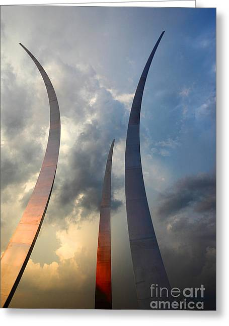 Honour Greeting Cards - United States Air Force Memorial at Sunset Greeting Card by James Brunker
