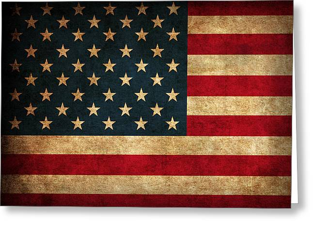 Worn Greeting Cards - United States American USA Flag Vintage Distressed Finish on Worn Canvas Greeting Card by Design Turnpike