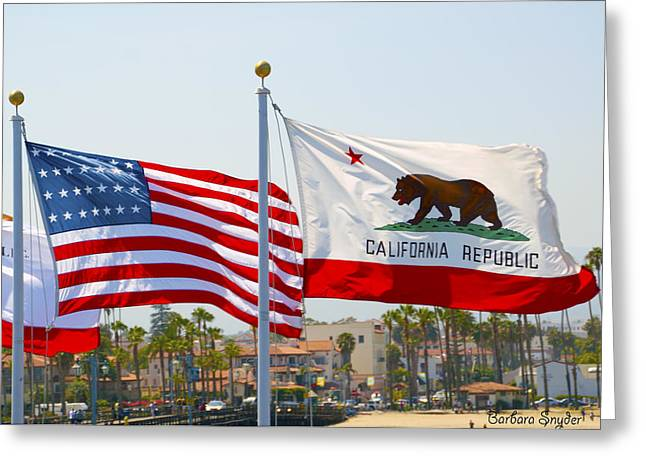 Barbara Snyder Greeting Cards - United States and California Flags Greeting Card by Barbara Snyder