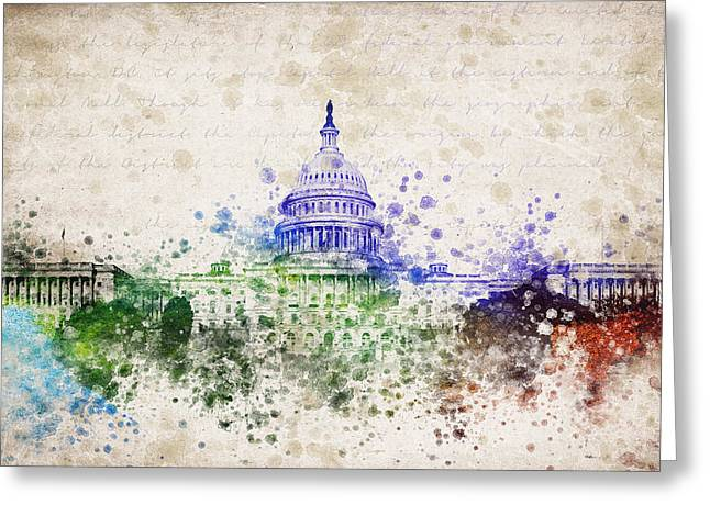 National Mall Greeting Cards - United States Capitol Greeting Card by Aged Pixel