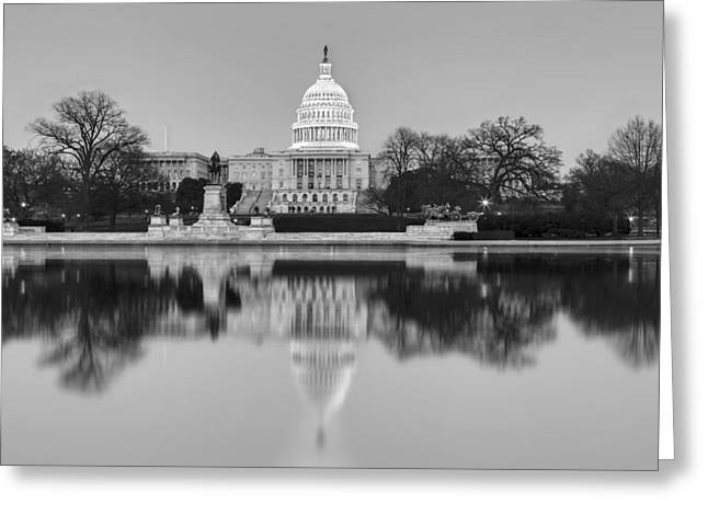United States Capitol Greeting Cards - United States Capitol Building BW Greeting Card by Susan Candelario