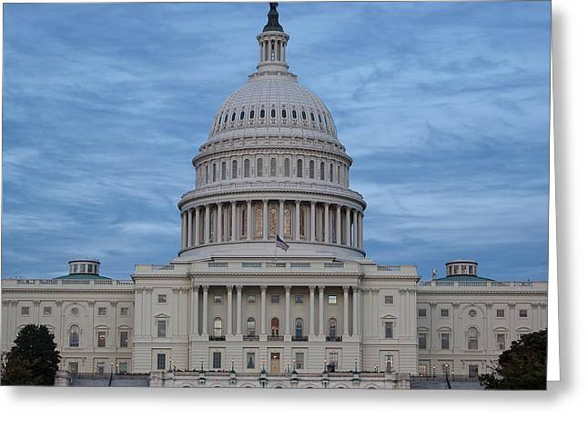 Flag Of Usa Greeting Cards - United States Capitol Building Greeting Card by Kim Hojnacki